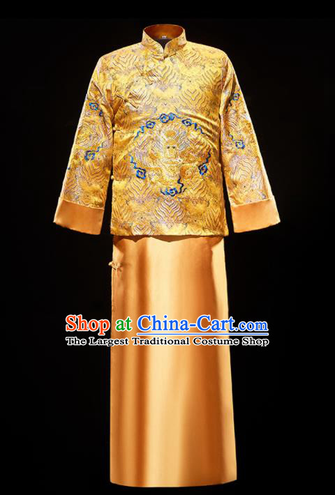 Chinese Traditional Bridegroom Wedding Costumes Tang Suit Embroidered Golden Mandarin Jacket and Long Gown for Men
