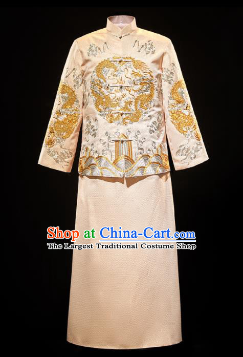 Chinese Traditional Bridegroom Wedding Xiuhe Costumes Tang Suit Embroidered Dragon Golden Mandarin Jacket and Long Gown for Men