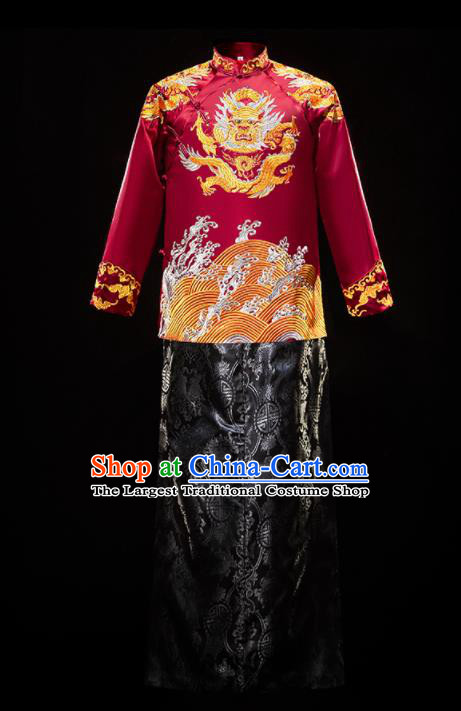 Chinese Traditional Bridegroom Wedding Xiuhe Costumes Tang Suit Embroidered Red Mandarin Jacket and Black Long Gown for Men