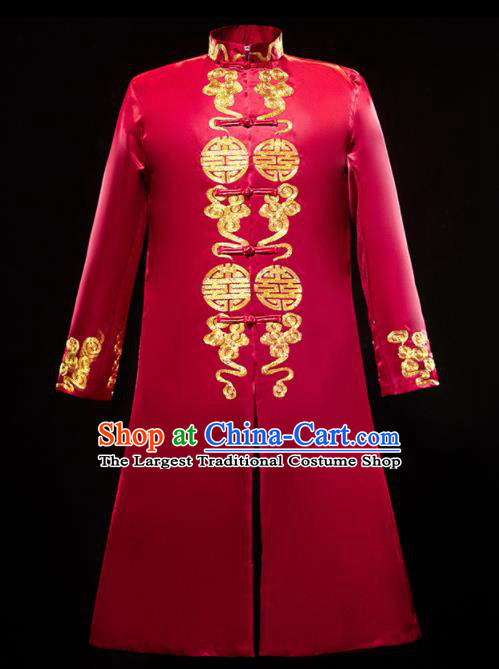 Chinese Traditional Bridegroom Wedding Xiuhe Costumes Tang Suit Embroidered Dragon Red Long Mandarin for Men