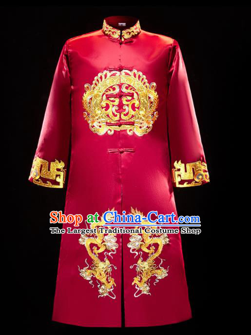 Chinese Traditional Bridegroom Wedding Xiuhe Costumes Tang Suit Embroidered Dragons Red Long Mandarin for Men