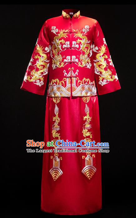 Chinese Traditional Bridegroom Wedding Costumes Tang Suit Red Mandarin Jacket and Long Gown for Men