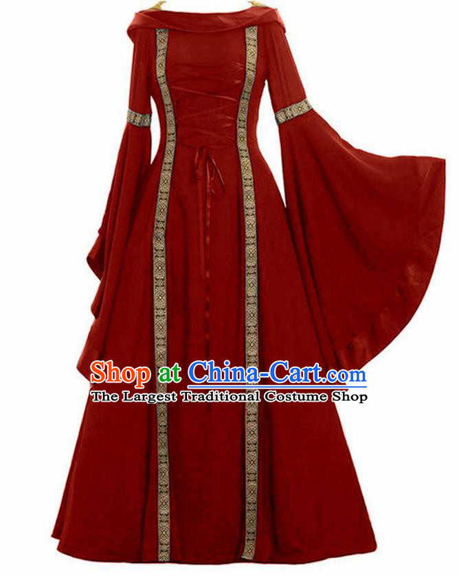 Traditional Europe Renaissance Drama Stage Performance Red Dress European Halloween Cosplay Court Costume for Women
