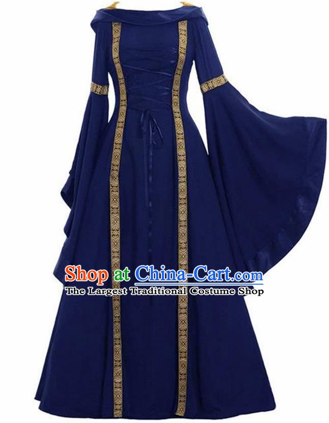 Traditional Europe Renaissance Drama Stage Performance Royalblue Dress European Halloween Cosplay Court Costume for Women