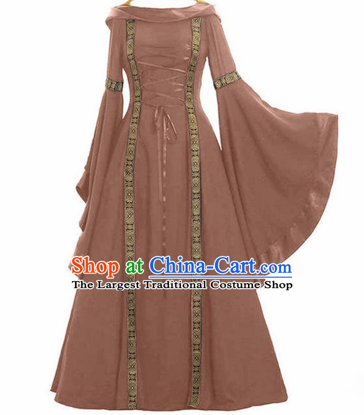 Traditional Europe Renaissance Drama Stage Performance Brown Dress European Halloween Cosplay Court Costume for Women