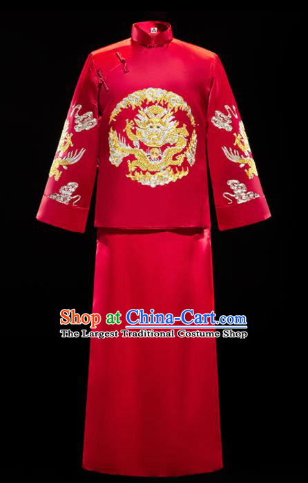 Chinese Traditional Bridegroom Wedding Embroidered Dragon Xiuhe Suits Costumes Tang Suit Wine Red Mandarin Jacket and Long Gown for Men