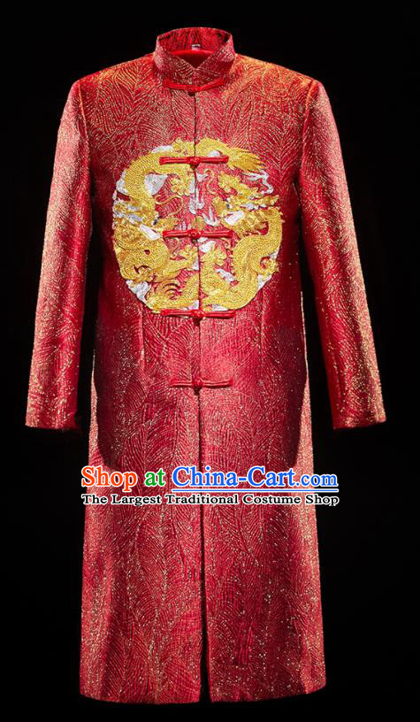 Chinese Traditional Bridegroom Wedding Embroidered Dragon Costumes Tang Suit Purplish Red Mandarin Jacket for Men