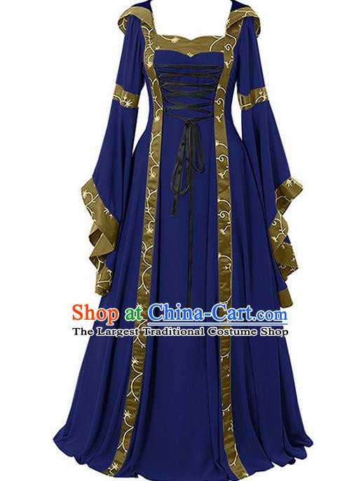 Traditional Europe Renaissance Royalblue Dress European Drama Stage Performance Halloween Cosplay Court Costume for Women