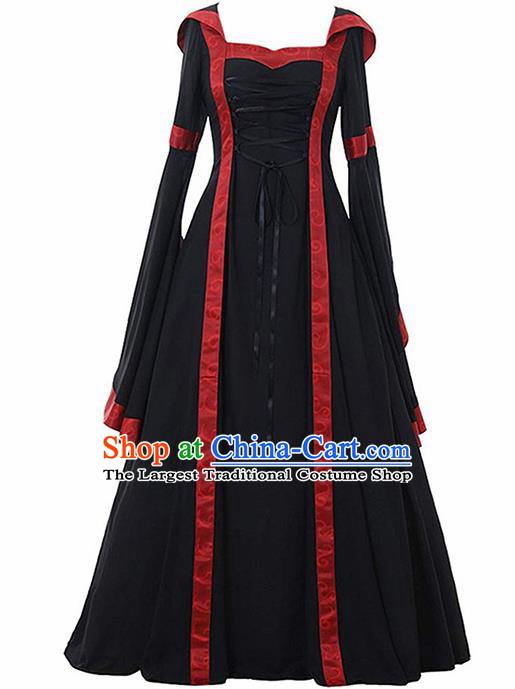 Traditional Europe Renaissance Black Dress European Drama Stage Performance Halloween Cosplay Court Costume for Women