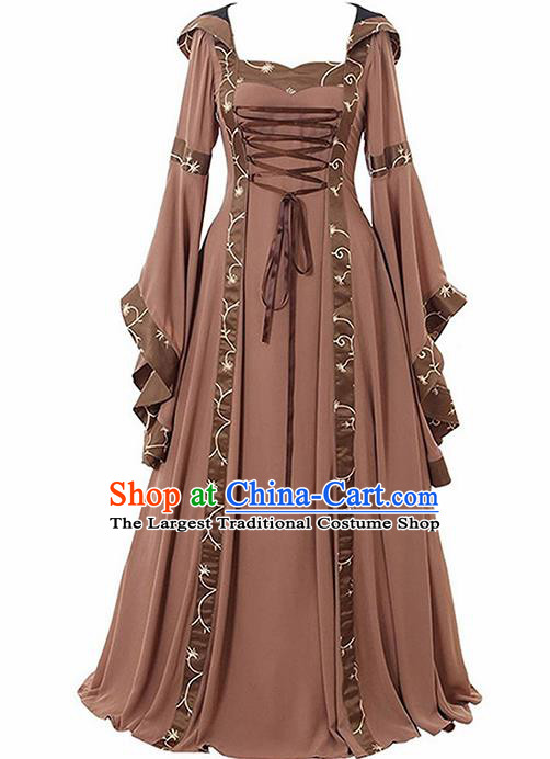Traditional Europe Renaissance Brown Dress European Drama Stage Performance Halloween Cosplay Court Costume for Women