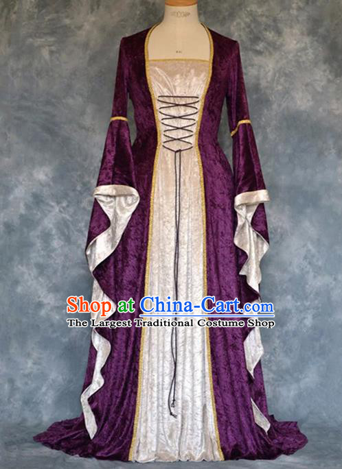 Traditional Europe Renaissance Court Purple Velvet Dress European Drama Stage Performance Halloween Cosplay Costume for Women