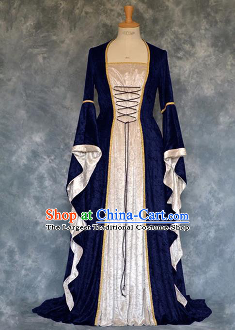 Traditional Europe Renaissance Court Deep Blue Velvet Dress European Drama Stage Performance Halloween Cosplay Costume for Women