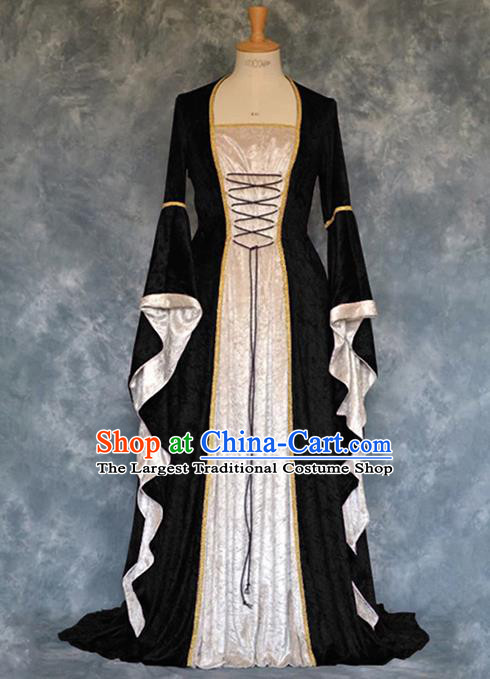 Traditional Europe Renaissance Court Black Velvet Dress European Drama Stage Performance Halloween Cosplay Costume for Women