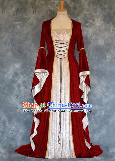 Traditional Europe Renaissance Court Red Velvet Dress European Drama Stage Performance Halloween Cosplay Costume for Women