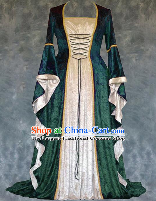 Traditional Europe Renaissance Court Green Velvet Dress European Drama Stage Performance Halloween Cosplay Costume for Women