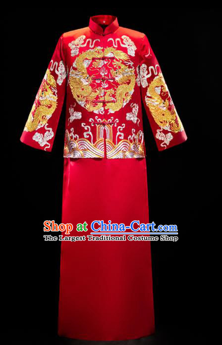 Chinese Traditional Tang Suit Red Mandarin Jacket and Gown Ancient Bridegroom Wedding Embroidered Costumes for Men