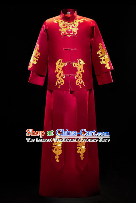 Chinese Traditional Tang Suit Dark Red Mandarin Jacket and Gown Ancient Bridegroom Wedding Embroidered Costumes for Men