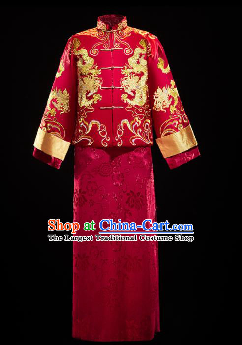 Chinese Traditional Tang Suit Embroidered Red Mandarin Jacket and Gown Ancient Bridegroom Wedding Costumes for Men