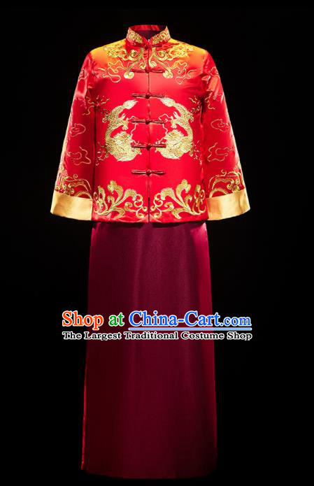 Chinese Traditional Tang Suit Embroidered Red Mandarin Jacket and Wine Red Gown Ancient Bridegroom Wedding Costumes for Men