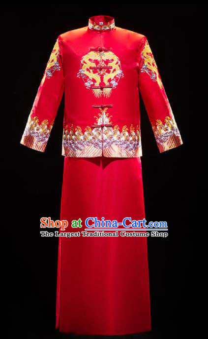 Chinese Traditional Embroidered Tang Suit Red Mandarin Jacket and Gown Ancient Bridegroom Wedding Costumes for Men
