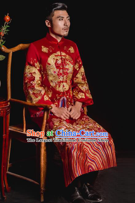 Chinese Traditional Embroidered Wedding Red Mandarin Jacket and Gown Ancient Bridegroom Tang Suit Costumes for Men