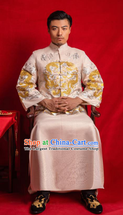 Chinese Traditional Embroidered Wedding Champagne Mandarin Jacket and Gown Ancient Bridegroom Tang Suit Costumes for Men