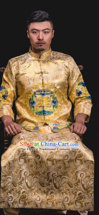 Chinese Traditional Wedding Embroidered Light Golden Mandarin Jacket and Gown Ancient Bridegroom Tang Suit Costumes for Men