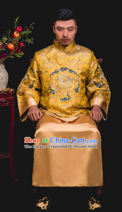 Chinese Traditional Wedding Embroidered Golden Mandarin Jacket and Gown Ancient Bridegroom Tang Suit Costumes for Men