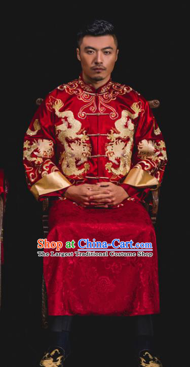 Chinese Traditional Wedding Embroidered Dragons Red Mandarin Jacket and Gown Ancient Bridegroom Tang Suit Costumes for Men