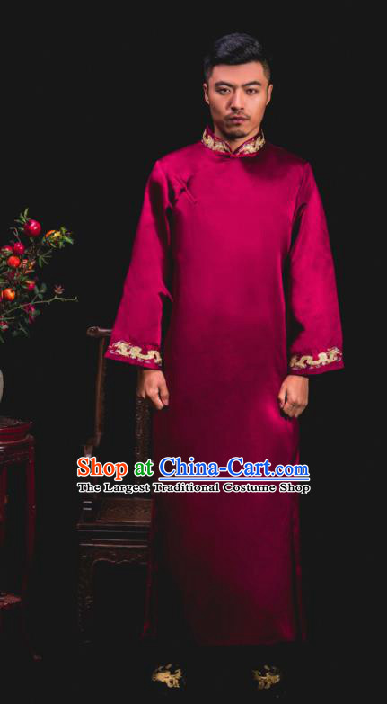 Chinese Traditional Wedding Embroidered Wine Red Gown Ancient Groomsman Tang Suit Costumes for Men