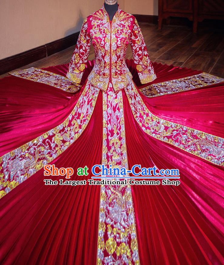Chinese Traditional Wedding Costumes Toast Red Xiuhe Suit Ancient Bride Embroidered Full Dress for Women