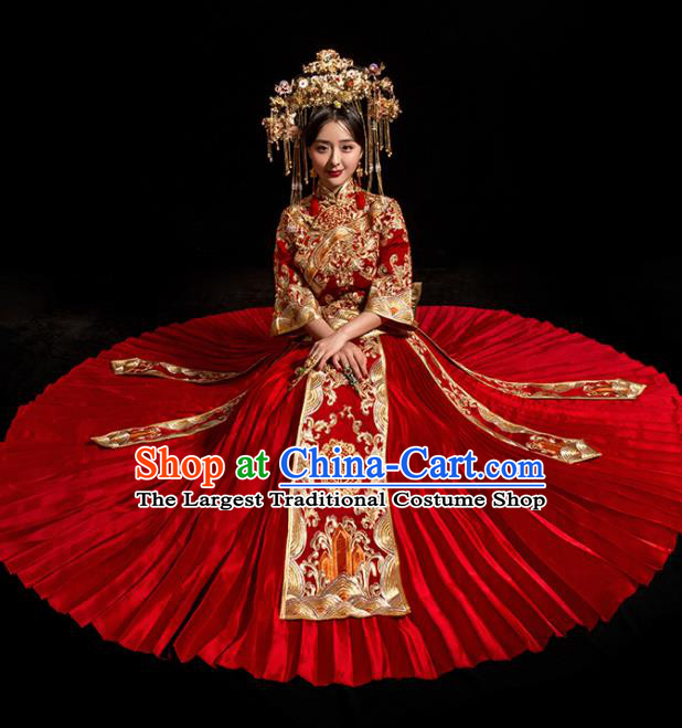 Chinese Traditional Wedding Toast Costumes Embroidered Red Xiuhe Suit Ancient Bride Full Dress for Women