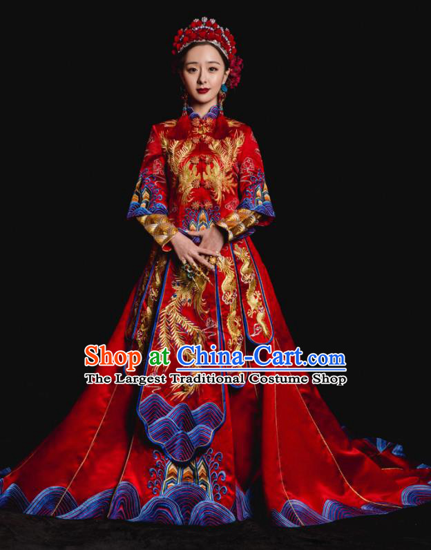 Chinese Traditional Wedding Toast Trailing Costumes Embroidered Red Xiuhe Suit Ancient Bride Full Dress for Women