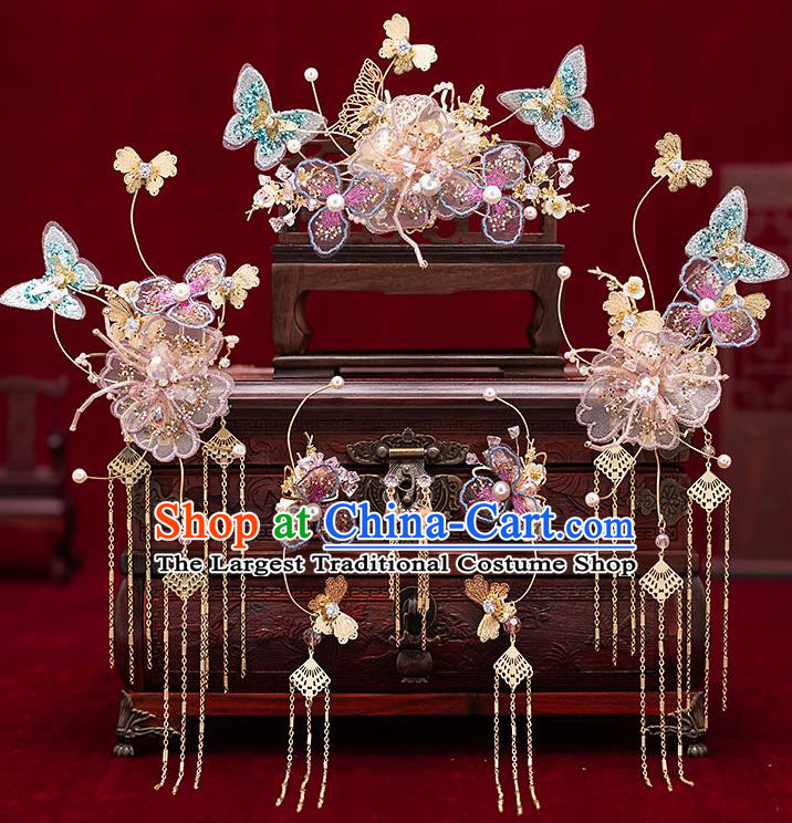 Chinese Traditional Bride Hair Crown Handmade Hairpins Wedding Hair Accessories Complete Set for Women