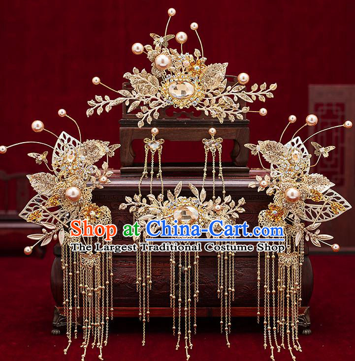 Chinese Traditional Bride Golden Hair Crown Handmade Hairpins Wedding Hair Accessories Complete Set for Women
