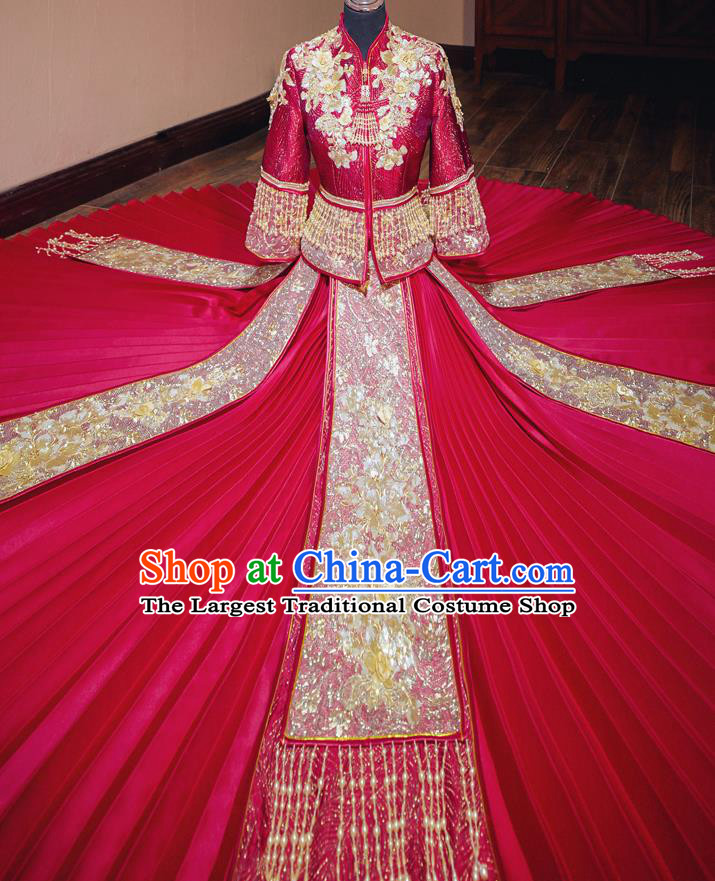 Chinese Traditional Wedding Red Costumes Toast Xiuhe Suit Ancient Bride Embroidered Full Dress for Women