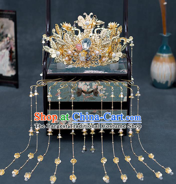 Chinese Traditional Bride Golden Royal Crown Handmade Hairpins Wedding Hair Accessories Complete Set for Women