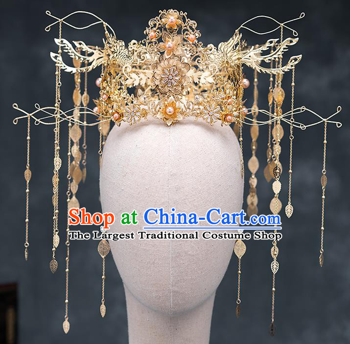 Chinese Traditional Golden Phoenix Coronet Bride Handmade Tassel Hairpins Wedding Hair Accessories Complete Set for Women
