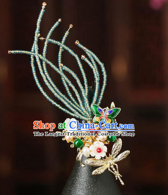 Chinese Traditional Cloisonne Butterfly Hair Claw Bride Handmade Hairpins Wedding Hair Accessories for Women