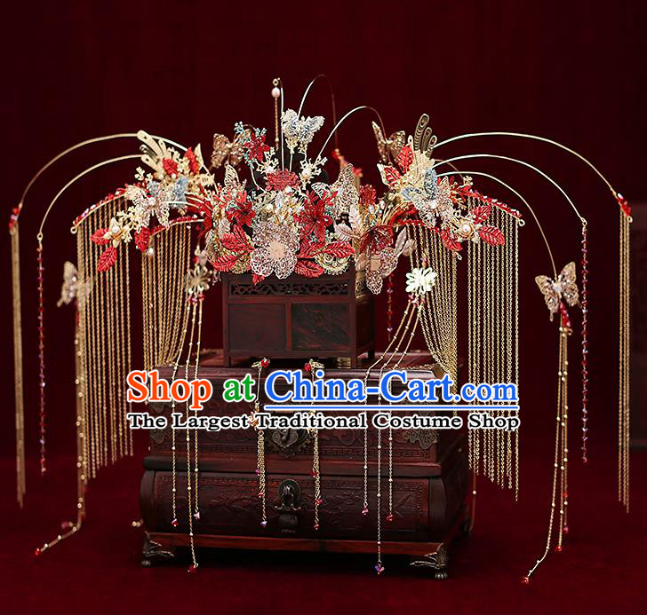 Chinese Traditional Crystal Phoenix Coronet Bride Handmade Tassel Hairpins Wedding Hair Accessories Complete Set for Women