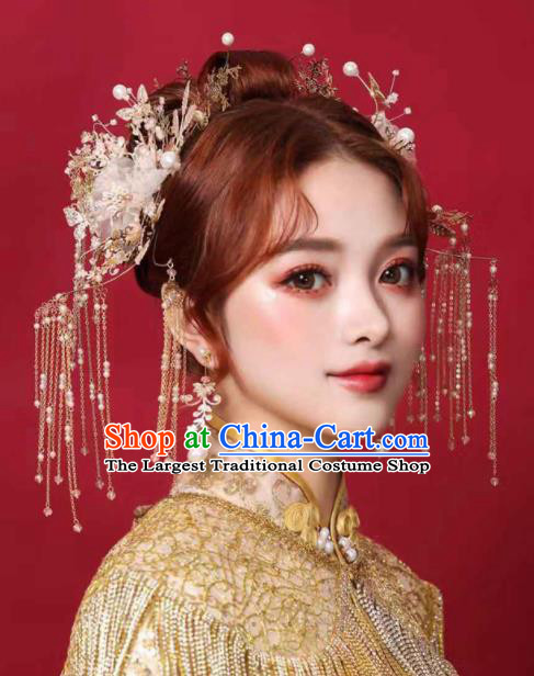 Chinese Traditional Hair Clips Bride Handmade Tassel Hairpins Wedding Hair Accessories Complete Set for Women