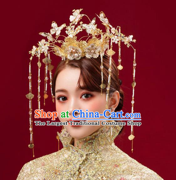 Chinese Traditional Butterfly Hair Crown Bride Handmade Tassel Hairpins Wedding Hair Accessories Complete Set for Women