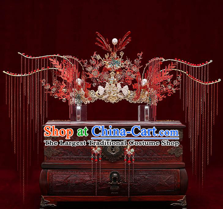 Chinese Traditional Red Tassel Phoenix Coronet Bride Handmade Hairpins Wedding Hair Accessories Complete Set for Women