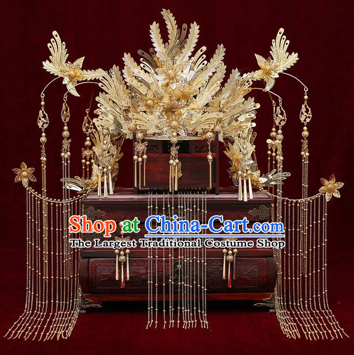 Chinese Traditional Wedding Golden Phoenix Coronet Bride Handmade Tassel Hairpins Hair Accessories Complete Set for Women