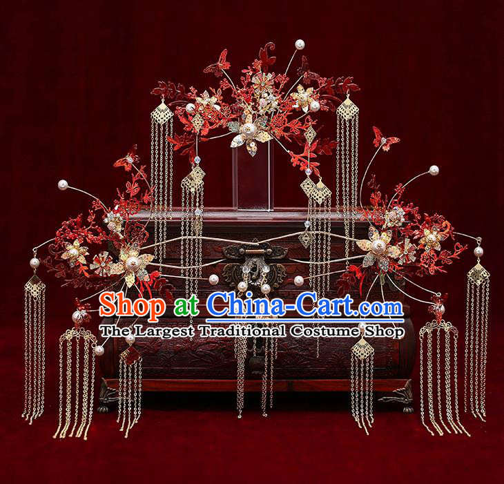 Chinese Traditional Red Leaf Phoenix Coronet Bride Handmade Hairpins Wedding Hair Accessories Complete Set for Women