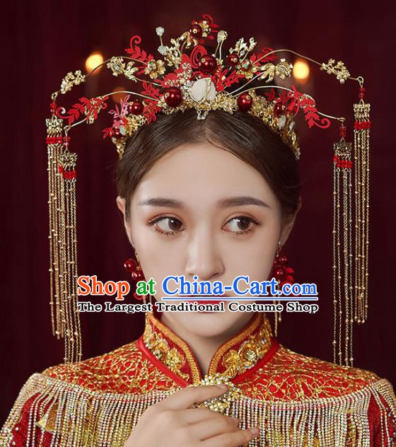 Chinese Traditional Wedding Red Phoenix Coronet Bride Handmade Tassel Hairpins Hair Accessories Complete Set for Women