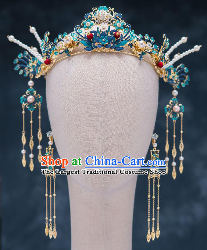 Chinese Traditional Bride Cloisonn Hair Crown Handmade Hairpins Wedding Hair Accessories Complete Set for Women