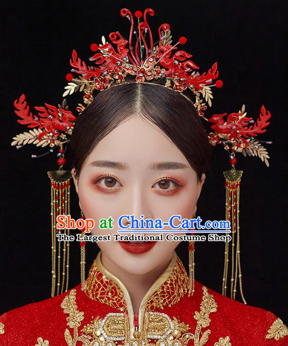 Chinese Traditional Bride Red Phoenix Coronet Handmade Hairpins Wedding Hair Accessories Complete Set for Women