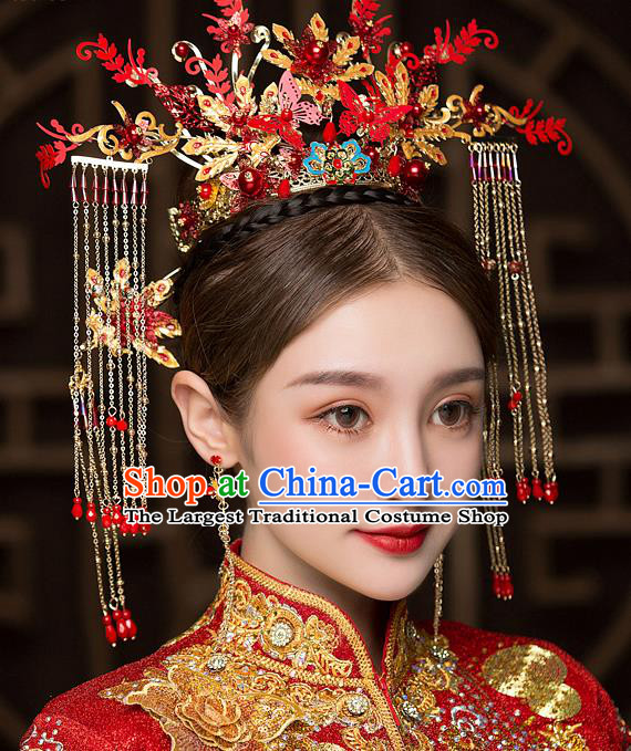 Chinese Traditional Red Butterfly Phoenix Coronet Bride Handmade Hairpins Wedding Hair Accessories Complete Set for Women