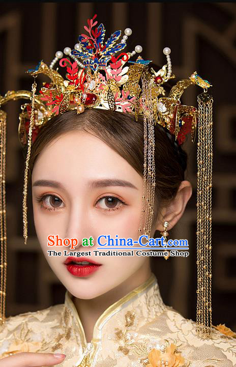 Chinese Traditional Blueing Phoenix Coronet Bride Handmade Hairpins Wedding Hair Accessories Complete Set for Women